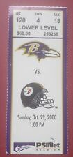 2000 BALTIMORE RAVENS NFL TICKET STUB VS PITTSBURGH STEELERS