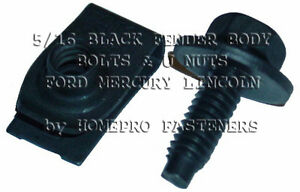 SHORT U NUTS & 5/16 BLK FENDER BOLTS FOR FORD FOR LINCOLN FOR MERCURY (9528) 24p