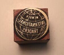 Vintage Printer Wood Metal Print Block Letterpress International Traders Logo
