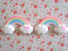 2 x Rainbow Heart Clouds Polymer Clay Cabochon Flatback Scrapbooking Craft