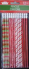 CHRISTMAS COLORED WOOD PENCILS #2 HB Lead with Erasers 12 Pencils/Pack
