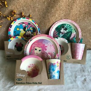 DISNEY BAMBOO Fibre Set Minnie Mouse and Princess Dining Eco Cup Plate Utensils