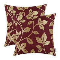 "2Pcs Burgundy Gold Cushion Covers Pillows Cases Shells Leaves Home Decor 18""X18"""