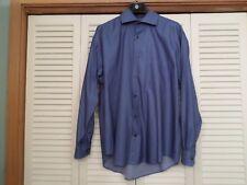 JOHNSON & MURPHY BLUE & BLACK STRIPE BUTTON FRONT DRESS SHIRT - SIZE L - EUC