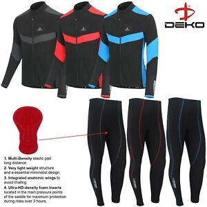 Mens Winter Cycling Jersey Cycling Tight Trouser Windstoper CoolMax Padded Set