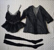 True Vintage Black Nylon Sheer Lace Cami Robe Thigh High Stocking Tights Medium