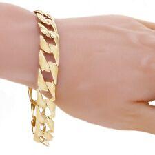 """Men's 10k Yellow Gold Solid Cuban Link Chain Bracelet Light Weight 8"""" 13mm 17g"""
