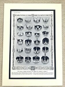 1937 Antique Print British Royal Family Crowns of Kings and Queens of England