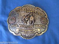 Custom Mortenson Steer Wresting Rodeo Trophy Rubies Belt Buckle Steer Wrestler