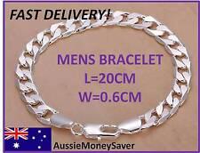 925 sterling silver filed Bracelet figaro Link chain Bracelet mens unisex  6mm