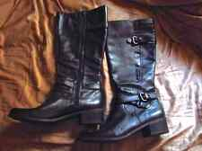 "Macy's Black Genuine Leather & Snakeskin Knee High Boots w/ 1"" Heel - Size 8"