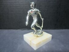 Small Vintage Baseball Trophy-Marble & Metal-Paperweight Maybe? - 3 x 2-1/2 x 5""