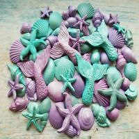 69 EDIBLE SUGAR FONDANT SHELLS MERMAID TAILS STARFISH CAKE TOPPERS DECORATIONS
