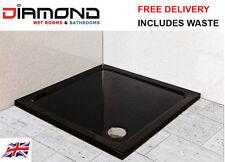 700x700 BLACK ULTRA GLOSS Square Stone Slimline Shower Tray 40mm inc Waste