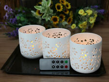 Flower Pattern Ceramic Votive Candles with Remote, Set of 3 Flameless Candles