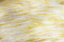 Plüsch Langflor 2-farbig gelb/weiß ca 140 cm breit Meterware Flokati Zottel