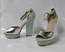 "Shoedazzle ""Caragh"" silver/green hi-heel block heel sandal - Size 11 5.75"" heel"