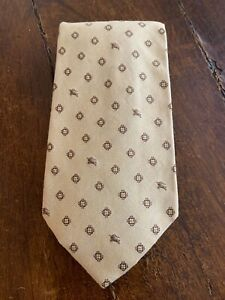 Burberry London~ Yellow, Brown~ Cotton/Silk Neck Tie~ GUC