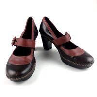 CLARKS Indigo Belladonna Mary Jane $90 Women's High Heel Shoes Size 8 Brown Red