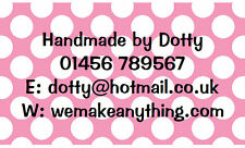 42 Large Personalised Labels Polka Dot Pink  / Address / Hobbies  (Stickers)