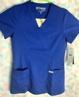 Grey's Anatomy Women's XS Blue Scrub Top Mock Wrap V Neck Two Pockets NWT