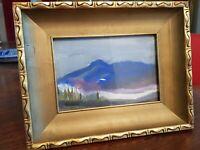 Peinture gouache, paysage de montagne, signée à déchiffrer