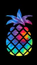"Tie Dye Pineapple Printed Decal for 18"" tall x 10"" Wide for Wall/Mirror/Car"