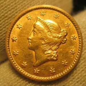 1849 Gold Dollar Closed Wreath