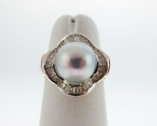 Gray Pearl 9mm Genuine Diamonds Solid 14k Two-Tone Gold Ring FREE Sizing