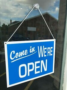 COME IN WE'RE OPEN / SORRY WE'RE CLOSED SHOP WINDOW SIGN - ANY COLOUR -250x190mm