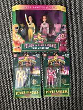 Bandai Mighty Morphin Power Rangers Auto Trini & Kimberly Yellow Pink Doll Lot
