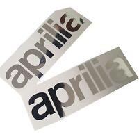APRILIA Argentchrome texte Décalques Stickers graphique MOTO 2 pièces moyen