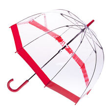Clear Dome Birdcage Umbrella with Red Trim