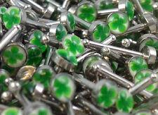 N#516 - 10pcs Four Leaf Clover Logo Nose Studs Bones 18g 18 gauge Rings Shamrock