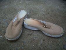 CLARKS WOMEN'S Beige Canvas Slip On Clogs Mules Shoes Size 7M Style # 31039  VGC