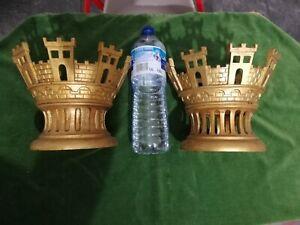 Dessus chapeau de lanterne couronne muraille château bronze XIXème armoiries