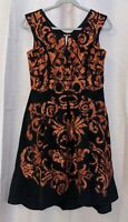 Yoana Baraschi Women's Black Corduroy and Burnt Orange Lace Dress - Size 4