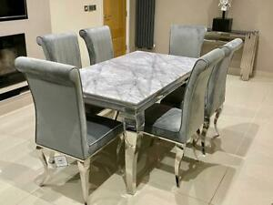 Louis Black Glass Grey Marble Dining Table Set Chrome Legs and Velvet Chairs
