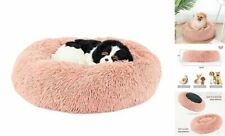 """Calming Dog Bed Cat Bed, Round Donut Dog Bed, Anti Medium(23.6""""x23.6 34;) Pink"""