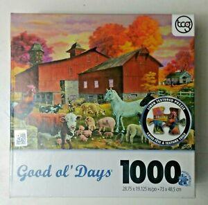 Good Ol' Days Barnyard Gathering 1000 Piece Puzzle - Tom Antonishak 29 x 19
