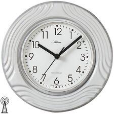 Atlanta 6021 Küchenuhr Wanduhr Küche Funk Funkwanduhr analog Keramik grau wei�Ÿ