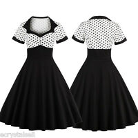 Women Rockabilly Square Neck Polka Dot 50s Retro Swing Vintage Pinup Party Dress