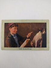 Antique Postcard You Scalawag Boy Chastises Dog
