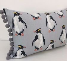 Penguin Cushion Cover Scatter Bolster Fabric Both Sides Grey pom pom 12x18""