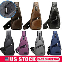 Men's Leather Chest Bag Shoulder Pack USB Charging Port Sports Crossbody Handbag
