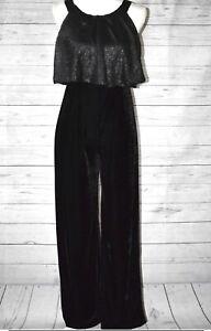 Amy Byer Girls Sequins Velvet Jumpsuit Size 10