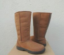 UGG CHESTNUT ULTIMATE TALL BRAID SUEDE/ SHEEPSKIN BOOTS, US 10/ EUR 41 ~NEW