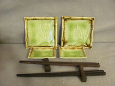 Sushi 8 Piece Dinnerware Service Set For 2 Green Ceramic With Bamboo Design