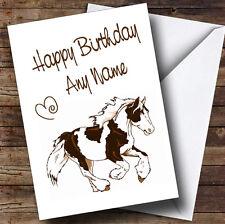 Skewbald Gypsy Vanner Cob Horse Personalised Birthday Card