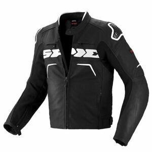 Spidi Evo Rider Motorcycle Leather Sports Race Waterproof Jacket Black/White